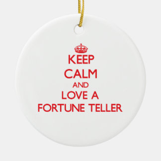 Keep Calm and Love a Fortune Teller Round Ceramic Decoration
