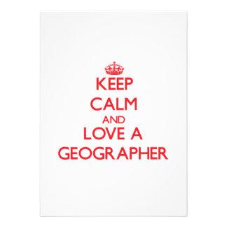 Keep Calm and Love a Geographer Custom Invitation