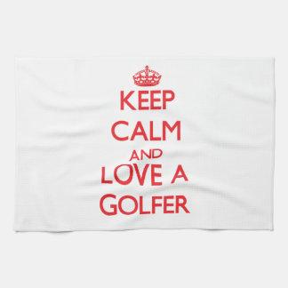 Keep Calm and Love a Golfer Tea Towel