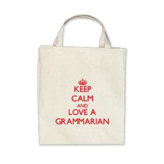 Keep Calm and Love a Grammarian Tote Bags