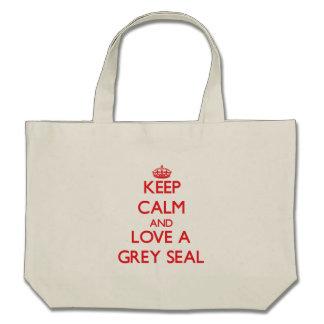 Keep calm and Love a Grey Seal Canvas Bag