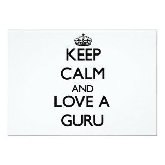 Keep Calm and Love a Guru 13 Cm X 18 Cm Invitation Card