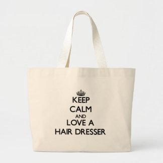 Keep Calm and Love a Hair Dresser Tote Bag