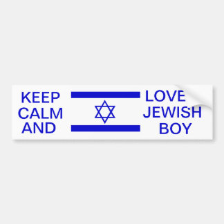 KEEP CALM AND LOVE A JEWISH BOY BUMPER STICKER