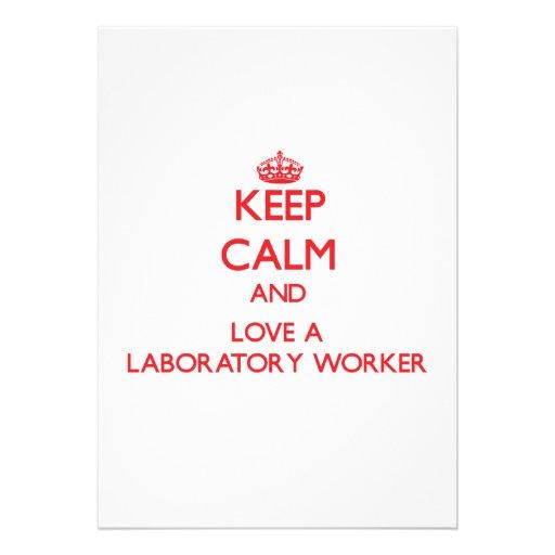 Keep Calm and Love a Laboratory Worker Custom Invites