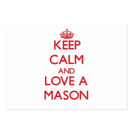 Keep Calm and Love a Mason Business Card Templates