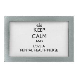 Keep Calm and Love a Mental Health Nurse Rectangular Belt Buckle