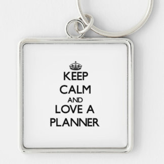 Keep Calm and Love a Planner Silver-Colored Square Key Ring