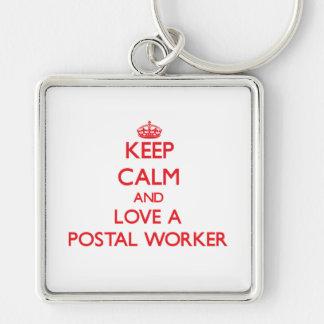 Keep Calm and Love a Postal Worker Keychain