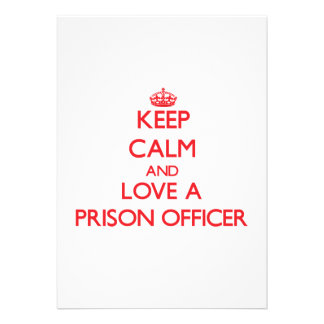 Keep Calm and Love a Prison Officer Personalized Invitation