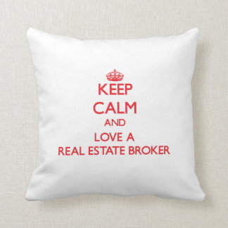 Keep Calm and Love a Real Estate Broker Throw Pillow