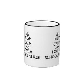 Keep Calm and Love a School Nurse Coffee Mugs
