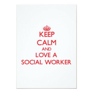 Keep Calm and Love a Social Worker 13 Cm X 18 Cm Invitation Card
