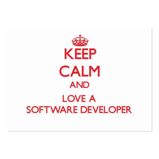 Keep Calm and Love a Software Developer Business Card Templates