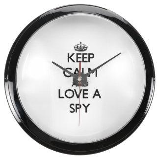 Keep Calm and Love a Spy Fish Tank Clock