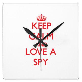 Keep Calm and Love a Spy Square Wall Clocks