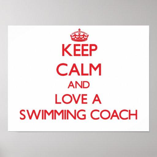 Keep Calm and Love a Swimming Coach Print