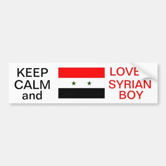 KEEP CALM AND LOVE A SYRIAN BOY STICKER BUMPER STICKER