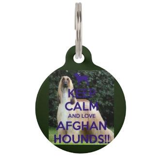 keep calm and love afghan hounds dog tag