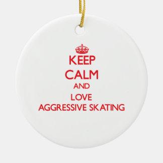 Keep calm and love Aggressive Skating Round Ceramic Decoration