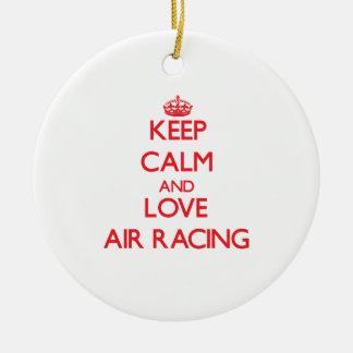 Keep calm and love Air Racing Christmas Tree Ornaments