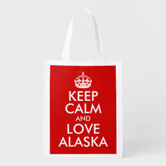 Keep Calm and Love Alaska Reusable Grocery Bag