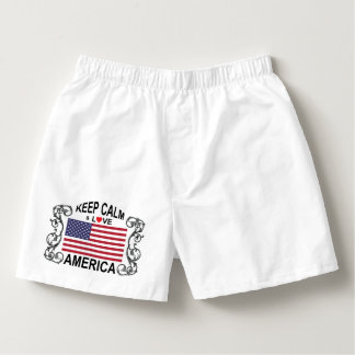 Keep Calm And Love America Boxers