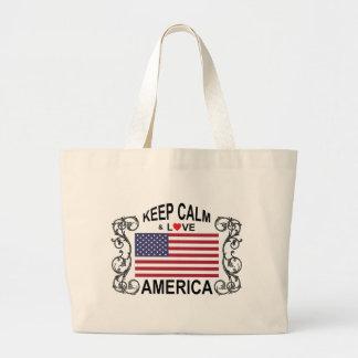 Keep Calm And Love America Jumbo Tote Bag