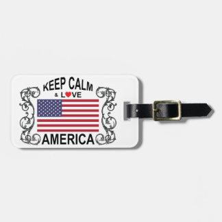 Keep Calm And Love America Luggage Tags