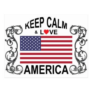 Keep Calm And Love America Postcard