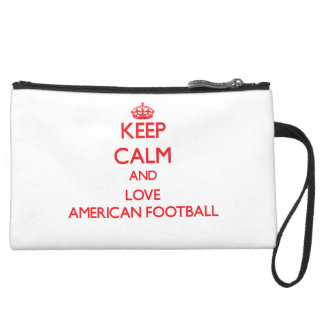 Keep calm and love American Football Wristlet Purse