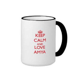 Keep Calm and Love Amya Ringer Coffee Mug