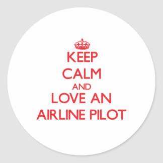 Keep Calm and Love an Airline Round Sticker