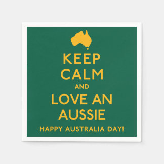Keep Calm and Love an Aussie! Disposable Napkin