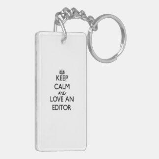 Keep Calm and Love an Editor Double-Sided Rectangular Acrylic Key Ring