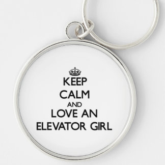 Keep Calm and Love an Elevator Girl Silver-Colored Round Key Ring
