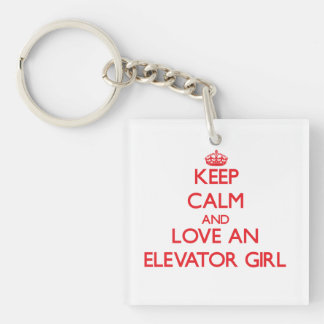 Keep Calm and Love an Elevator Girl Double-Sided Square Acrylic Keychain
