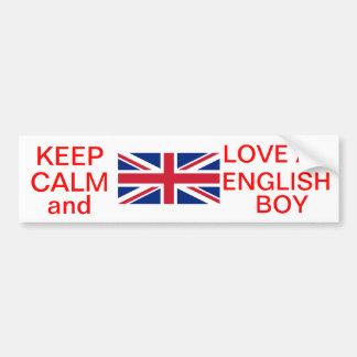 KEEP CALM AND LOVE AN ENGLISH BOY BUMPER STICKER CAR BUMPER STICKER