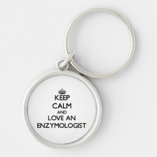 Keep Calm and Love an Enzymologist Silver-Colored Round Key Ring