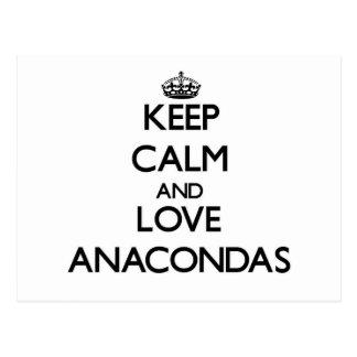 Keep calm and Love Anacondas Postcards