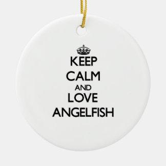 Keep calm and Love Angelfish Christmas Ornament