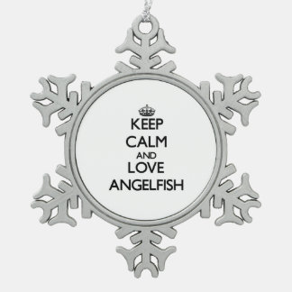 Keep calm and Love Angelfish Ornaments