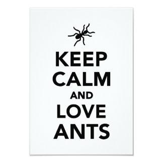 "Keep calm and love ants 3.5"" x 5"" invitation card"