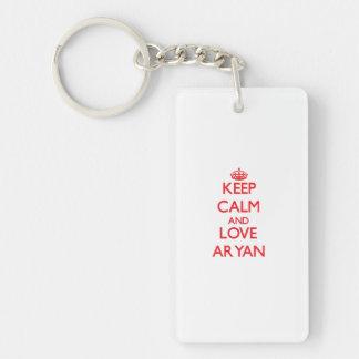Keep Calm and Love Aryan Double-Sided Rectangular Acrylic Keychain