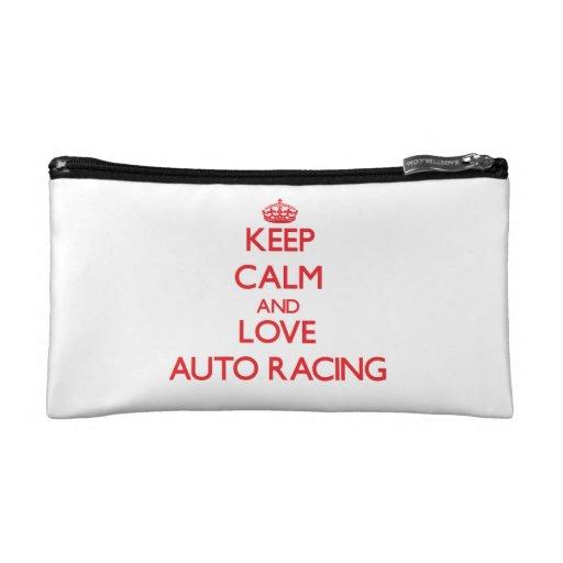 Keep calm and love Auto Racing Makeup Bags