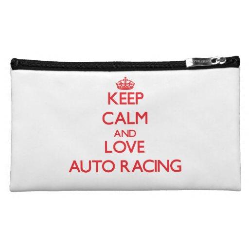 Keep calm and love Auto Racing Cosmetic Bag