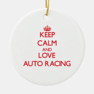 Keep calm and love Auto Racing Christmas Ornament