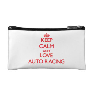 Keep calm and love Auto Racing Makeup Bags