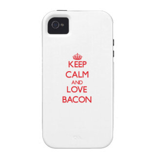 Keep calm and love Bacon Case-Mate iPhone 4 Cases