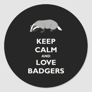 Keep Calm and Love Badgers Classic Round Sticker